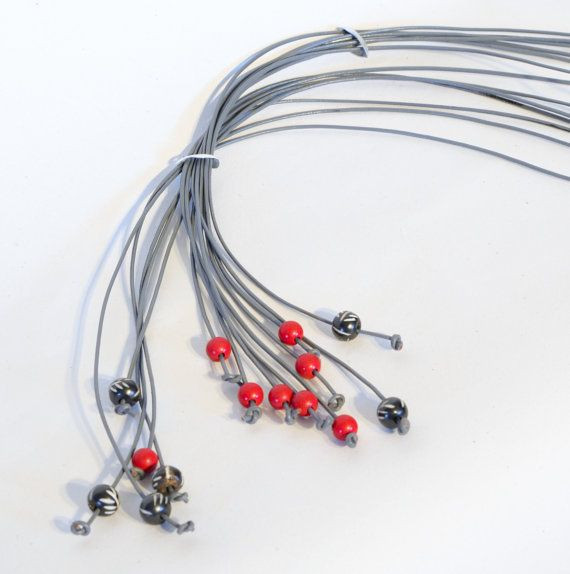 Red coral with gray inspired by nature long lariat by Cardoucci