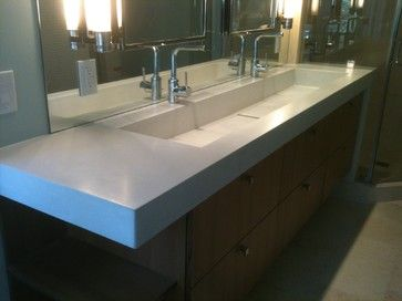 Concrete Trough Sink contemporary-bathroom