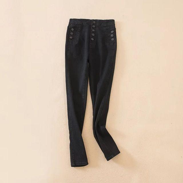 Tangada Летний стиль Синие джинсы Женщины jeggings прохладный джинсовые высокой талии брюки Женские Кнопки узкие черные джинсы FR5