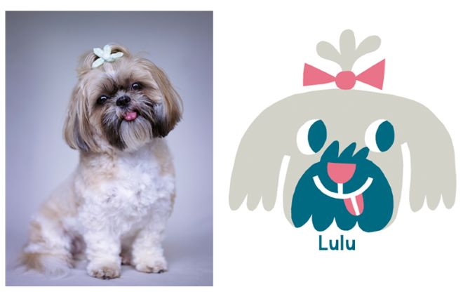 Super CUTE little Lulu the dog. Perfectly posed with head tilt and tongue out.  Illustrated dog portrait by NZ Artist Beck Wheeler.