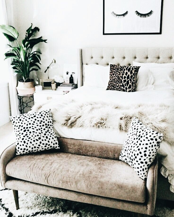 Stylish Bedroom - Neutral with prints and texture