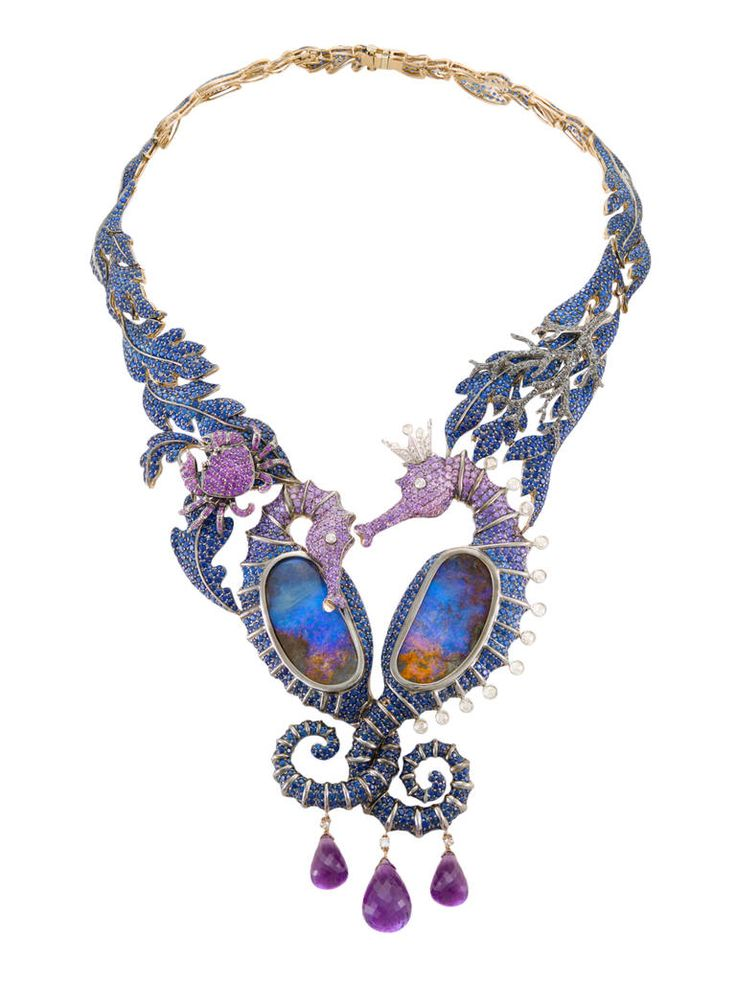 "Lydia Courteille ""Deep Sea"" Necklas. Black rodium gold, brown diamonds, sapphires and amethysts."