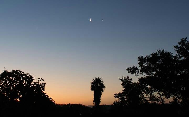 Moon and Venus alignment sunset Plettenberg Bay