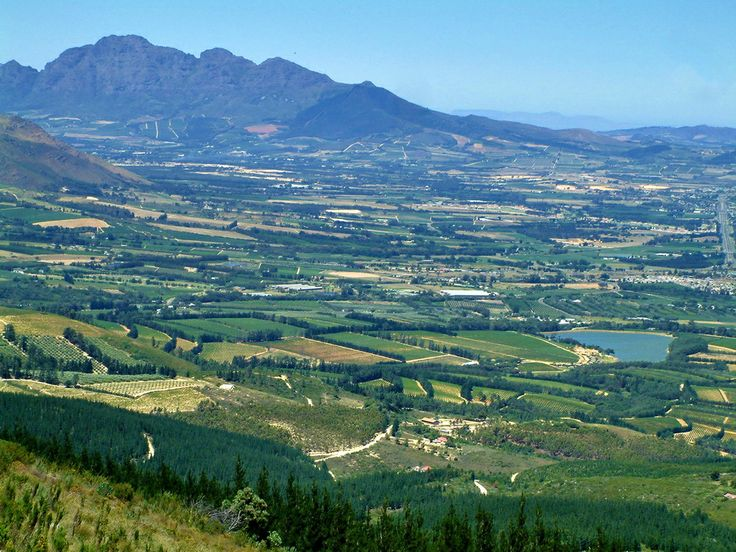 A view from the top of the old Du Toit's Kloof pass of Paarl, South Africa.