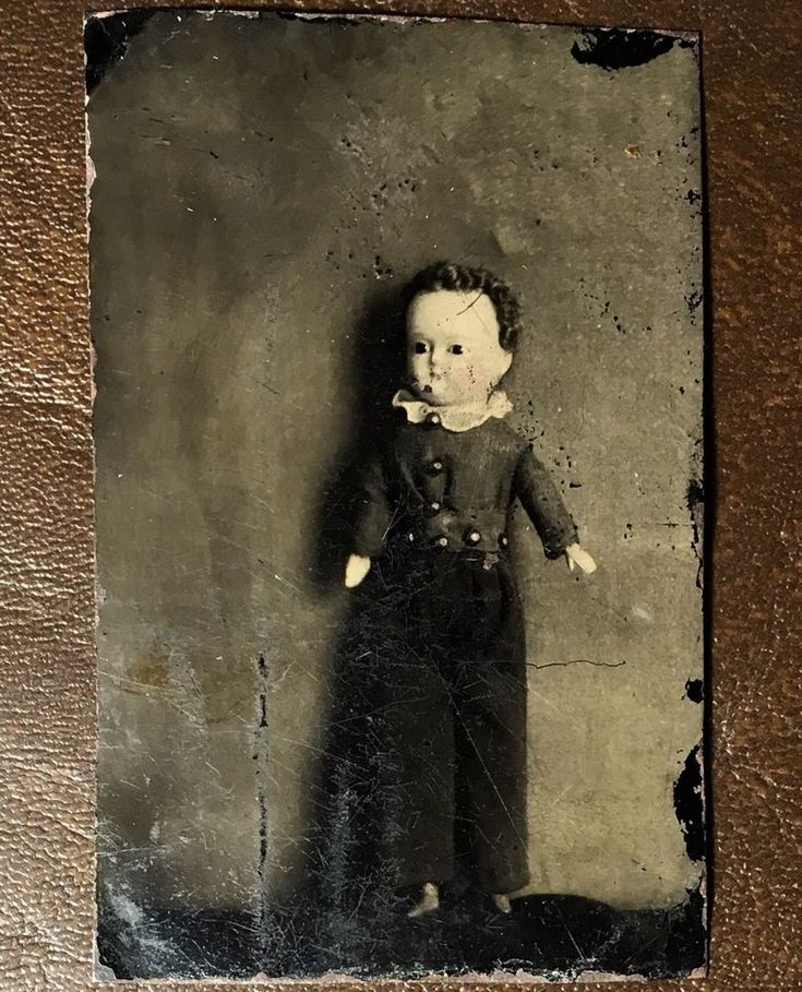 UNUSUAL MALE TOY DOLL BY ITSELF RARE CREEPY CHILD SCARY BOY TINTYPE PHOTO V3