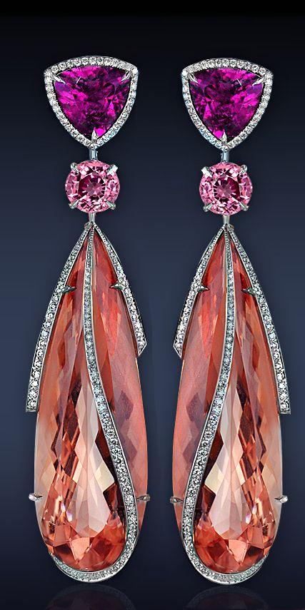 Morganite Drop Earrings, Brazilian Morganite, Pink Rubellite, (2 Stones), & Burmese Pink Spinel, White Diamonds.