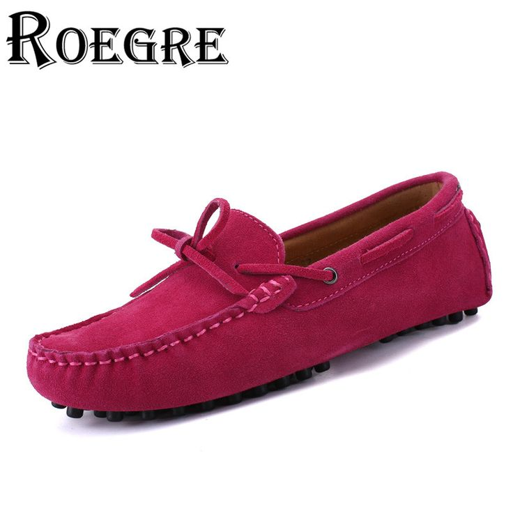 ROEGRE 2017 Hot Sale Women Suede Leather Loafers  Ladies Butterfly-Knot Boat Shoes Casual Flats Moccasins Blue Pink Black