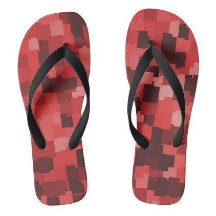 Abstract tiles pattern camouflage red flip flops - pattern sample design template diy cyo customize