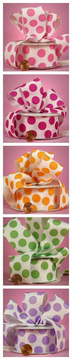 """Party Dot Grosgrain Ribbons (Repin to Win: Repin any image from our """"Repin to Win"""" board and win one hundred dollars in Paper Mart credit) http://pinterest.com/papermart/repin-to-win/"""