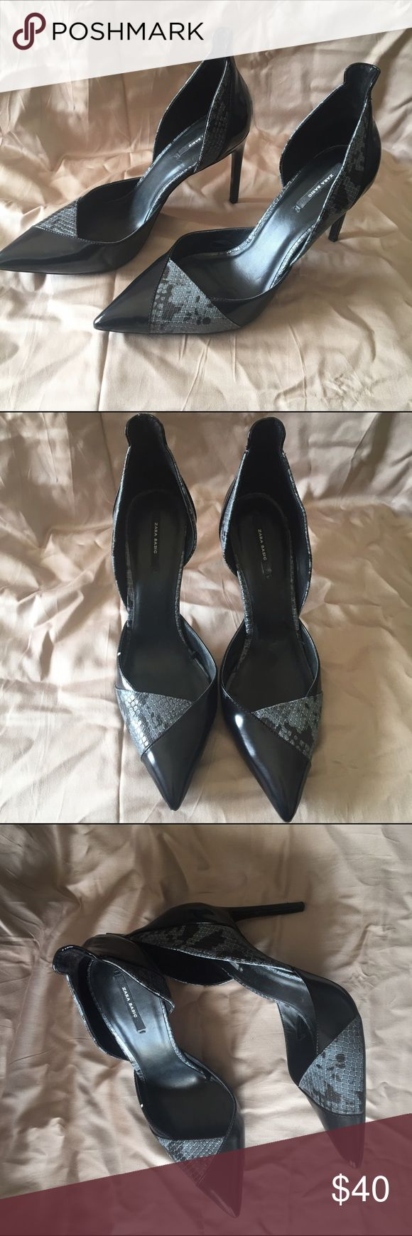 """Zara Black and grey python print court shoes sz 41 Zara Basic Black leather with grey python print inserts. 4"""" heel with high back Zara Shoes Heels"""