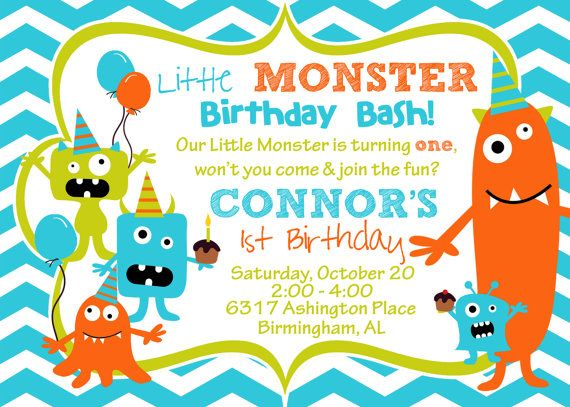 Cupcake Monster Bash Birthday Party Invitation -- Set of 12  - Turquoises, Oranges, Limes & Chocolate