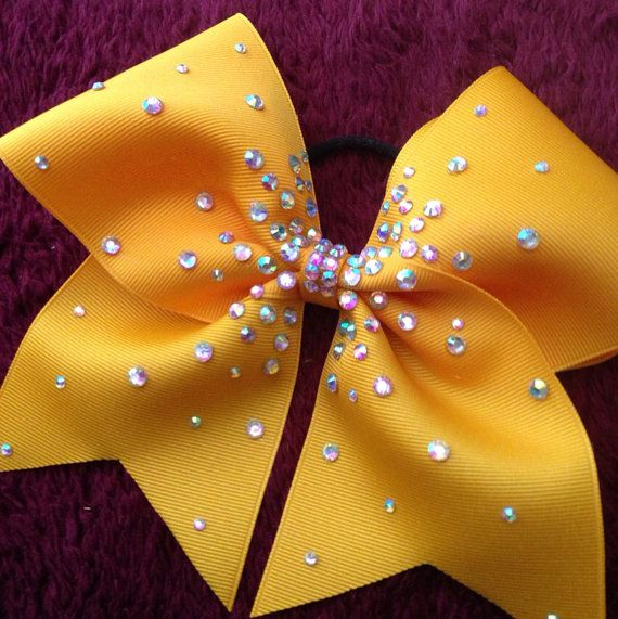 Gold rhinestoned Cheer Bow  by KathyBows on Etsy