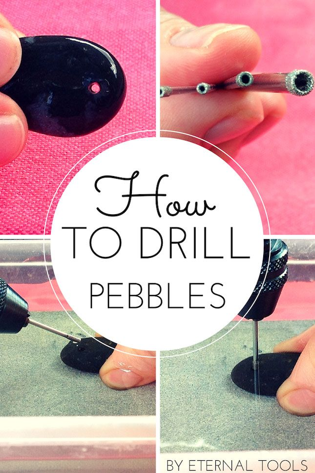 How to Drill Pebbles and small beach or garden stones by Eternal Tools. This follow along tutorial is full of tips and makes drilling holes into pebbles nice and easy. It shows the equipment you'll need, top tips along the way and some inspiring work by other artists who use pebbles and stones in their jewellery and craft work.
