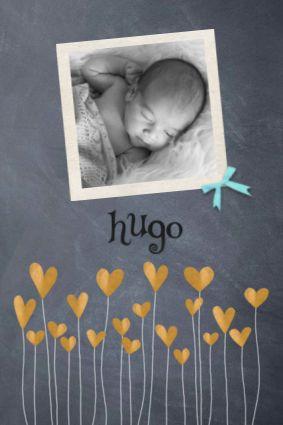 KaartMix Geboortekaartje krijt, foto, jongen, hartjes, makkelijk aanpasbaar