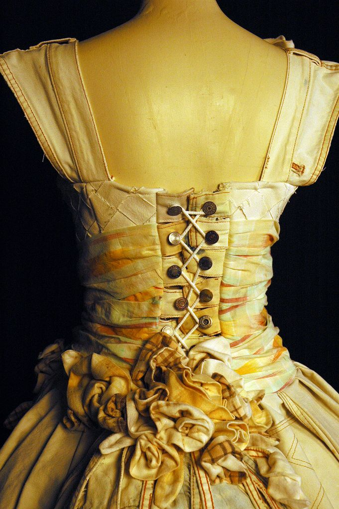 Discarded to Devine is a recycled clothing design competition - this is a wedding dress made of bleached RECYCLED jeans. Amazingly beautiful details. Wonderful for the bride who is concerned about the environment.