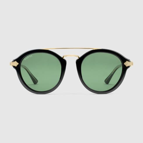 GUCCI Round-Frame Acetate Sunglasses. #gucci #men's sunglasses