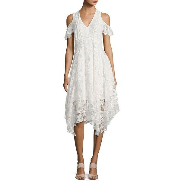 Taylor Women's Lace Cold-Shoulder Handkerchief Dress ($138) ❤ liked on Polyvore featuring dresses, white, white v neck dress, white cold shoulder dress, taylor dresses, bohemian lace dress and white lace dress