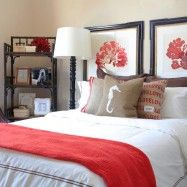 Baroque Coral Accent Pillow technique Orange County Beach Style Bedroom Decorating ideas with bed pillows burlap coastal coral decorative pillows floor lamps hotel bedding reading lamp red