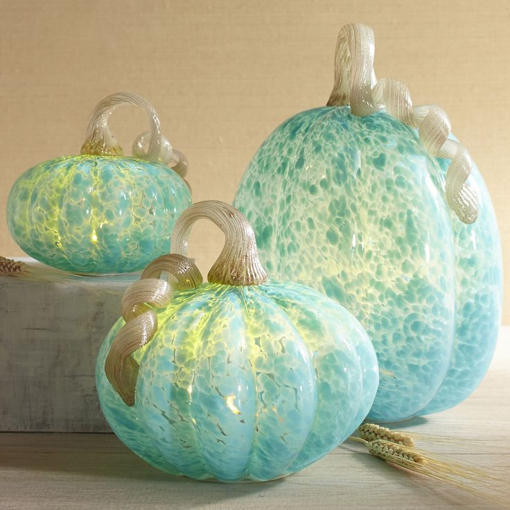 Blue LED Glass Pumpkins   Pier 1 Imports