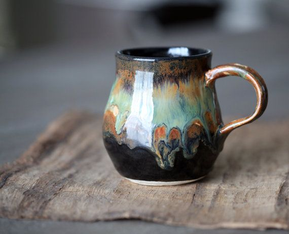 Pottery coffee mug tea cup rustic black brown with by for Clay mug ideas