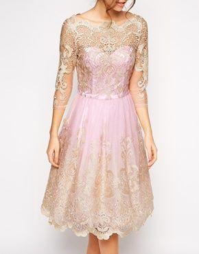 Pretty pink lace dress. A little bit retro, a little bit fairytale.  Chi Chi London Premium Metallic Lace Prom Dress with Bardot Neck