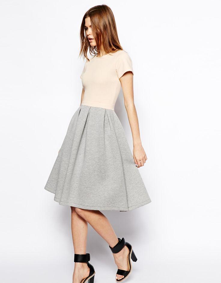midi dress with A-line box pleated skirt