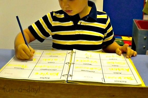Learn name writing with a preschool sign in book