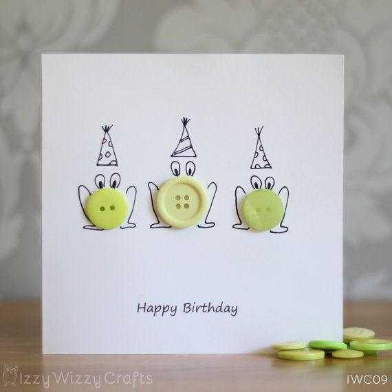 Frog Button Happy Birthday Greeting Cards by IzzyWizzyCrafts