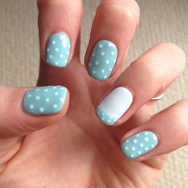 Cath Kidston inspired nails #BioSculpture #PolkaDot #Love