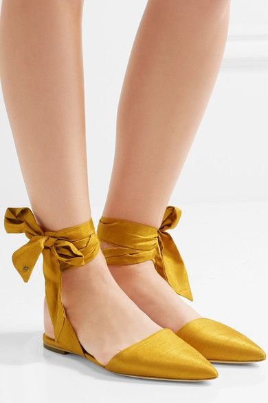 Slight heel Saffron satin Ties at ankle Designer color: Sunset Yellow ImportedLarge to size. See Size & Fit notes.