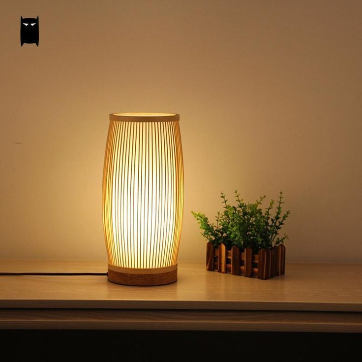 Round Bamboo Wicker Rattan Bucket Table Lamp Fixture Rustic Asian Desk Light #Soleilchat #Asian