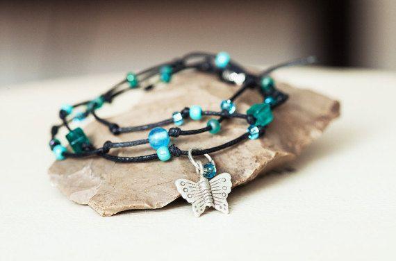 Turquoise Wrap Cord Bracelets Glass Beaded by Wildbeautyjewelry