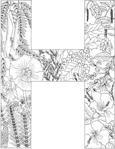 Letter H Coloring Page From English Alphabet With Plants