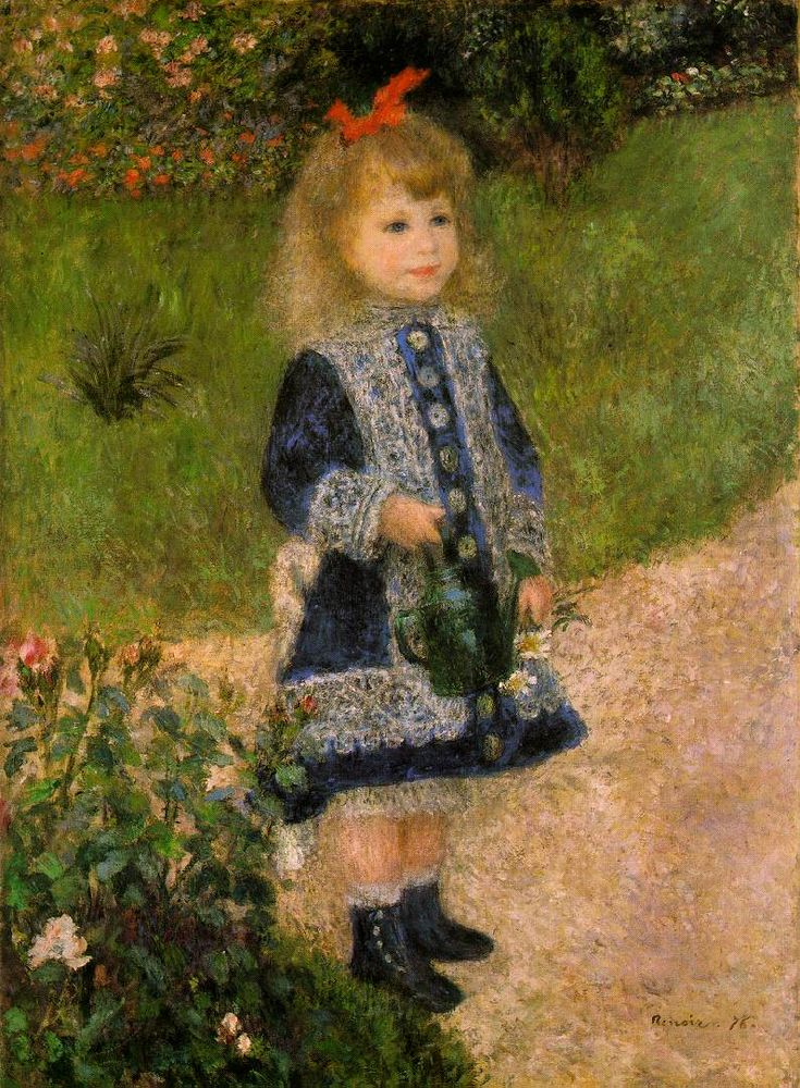 Auguste Renoir, French, 'A Girl with a Watering Can,' 1876, oil on canvas, National Gallery of Art, Washington D.C. In 1876, Renoir began to paint anecdotal depictions of women and children, subjects in which he excelled. A Girl with a Watering Can, typical of these works, displays a mature impressionist style attuned to the specific requirements of figure painting.