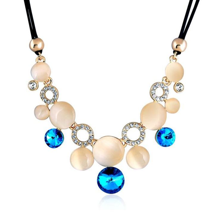4 colors Hot Sale Necklaces For Women Fashion Rope Chain Opal Rhinestone Crystal Choker Necklace Jewelry Clothing Accessories
