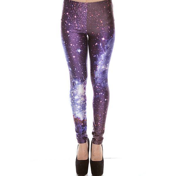 purple galaxy print elastic waist skinny leggings ($11) ❤ liked on Polyvore featuring pants, leggings, bottoms, tights, jeans, purple, white leggings, purple pants, white skinny pants and elastic waist pants