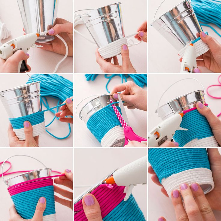 Use rope to colorfully wrap and a transform a bucket into a Easter pail.