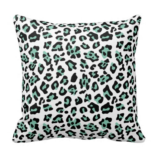 A trendy mint green and black leopard pattern throw pillow. A perfect girly accent for the teen ...