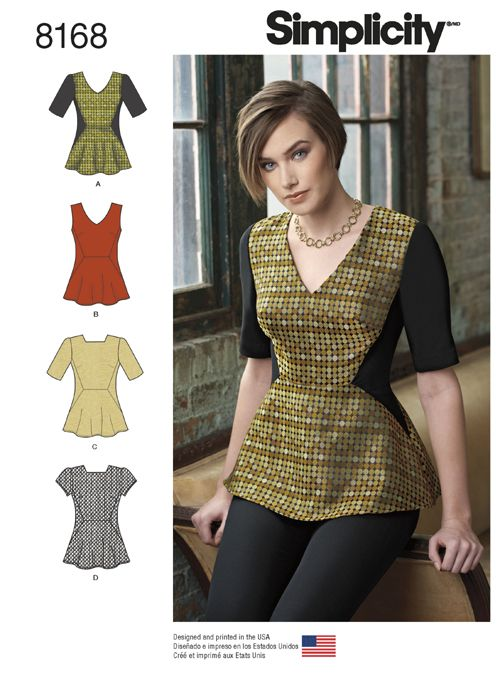 Simplicity 8168 Misses' structured peplum top features bust darts and side panels that will make this top envied by all. Sew top with a unique high square neckline, or classic v-neck. Pattern also includes sleeveless, short, or half sleeve options.