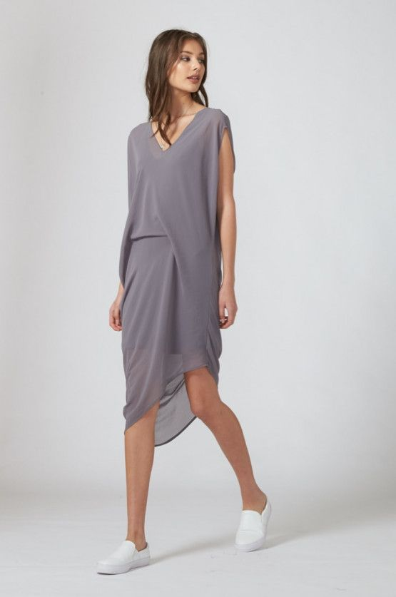 fold dress / aura grey