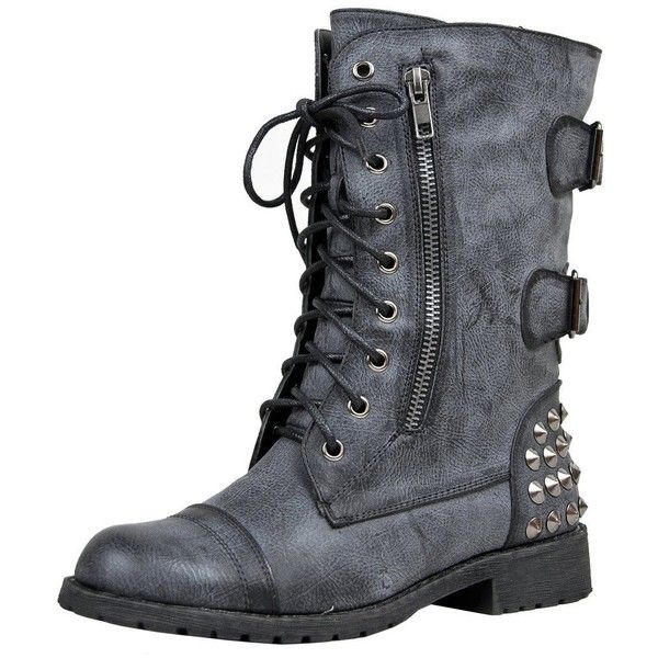 Harley 12 Womens Military Lace up Studded Combat Boot Black ($30) ❤ liked on Polyvore featuring shoes, boots, laced boots, laced up boots, studded combat boots, military boots and combat booties
