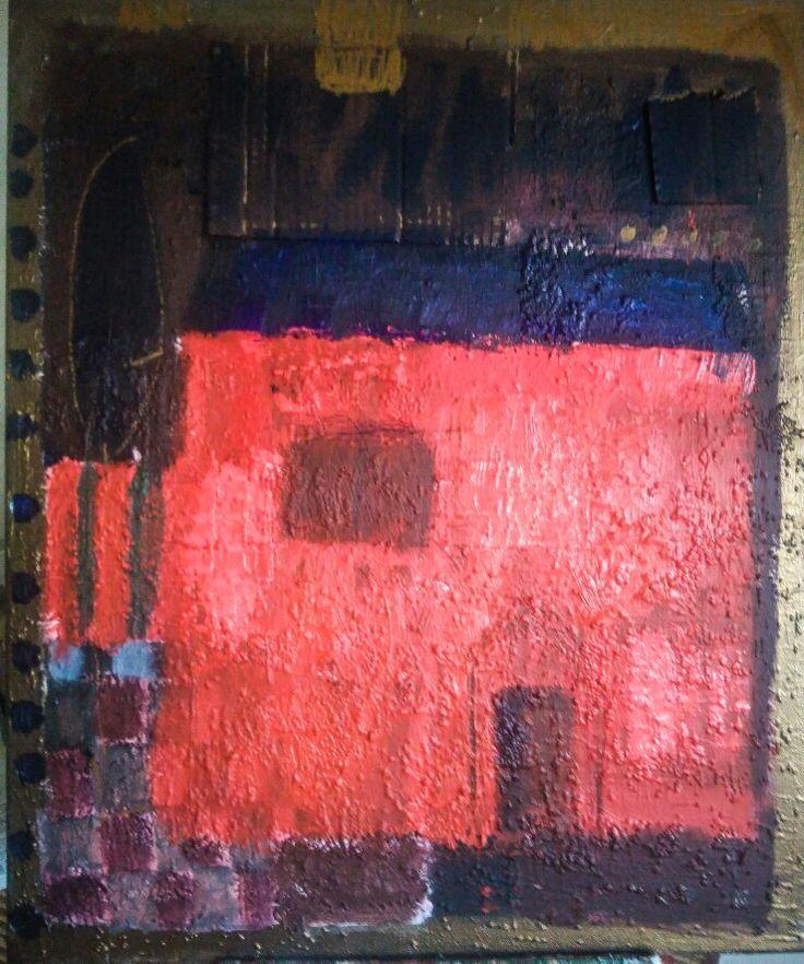 Kobus.m, abstract painting, acrylic, mixed media, house
