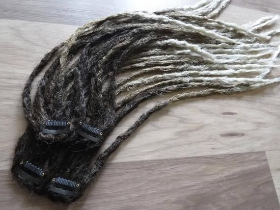 Synthetic Dreadlocks – Ombre Weft Clip Quarter Set of 20 Ends – Microthin Natural Crocheted Texture