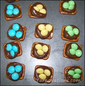 Easter Snacks for My Kids..sprinkle some crushed graham crackers on melted Hershey kisses before putting on m's and it will look like a bird's nest!!