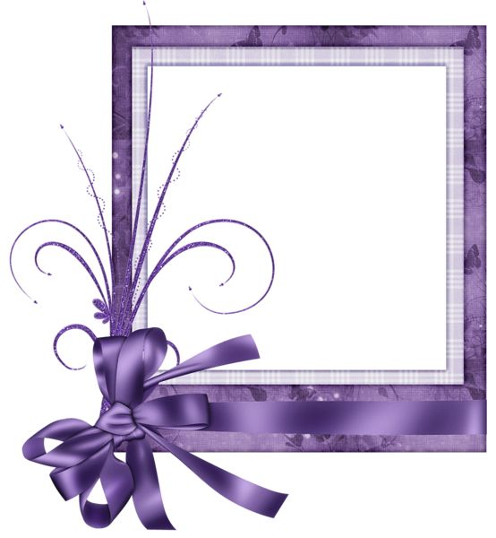 Purple Heart Frames | Cute Purple Transparent Frame with Bow
