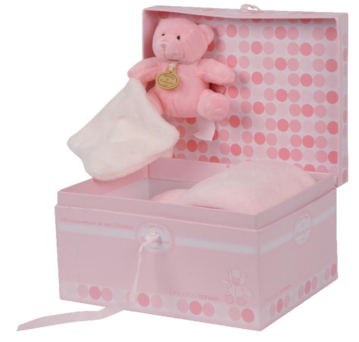 Doudou et Compagnie Pink Bonbon Bear & Blanket Gift Box