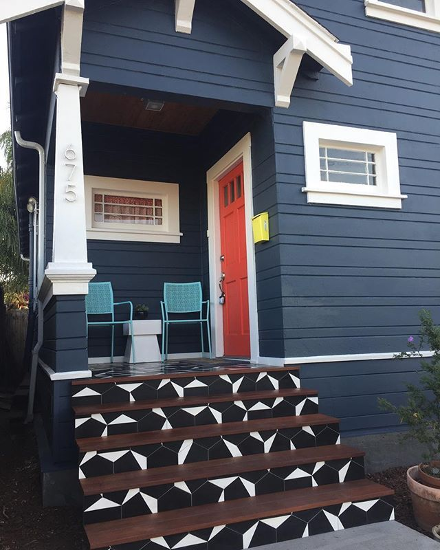 Cement Hex Clip Black White Hex 8 X9 X5 8 Painted Concrete Steps Cement Tiles Outdoor Exterior Tiles