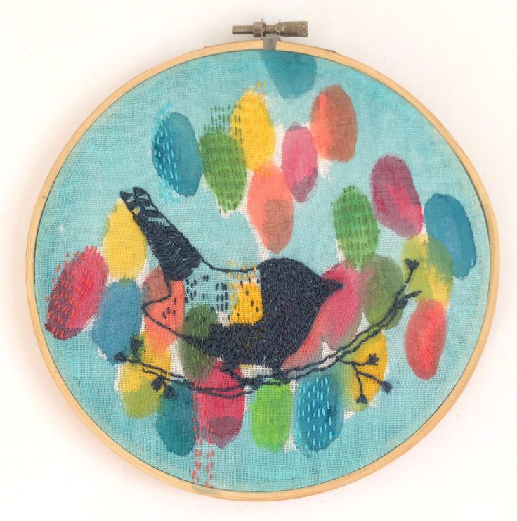 Birds and Summer Flowers - Embroidery and Acrylic on Paper. 19cm