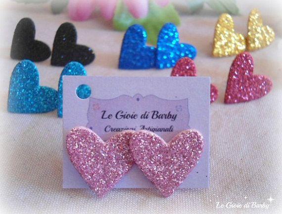 Orecchini a lobo rossi,orecchini a cuore colorati,orecchini glitter,orecchini in gomma,orecchini leggeri,orecchini fommy,orecchini luminosi by LeGioiediBarby #italiasmartteam #etsy