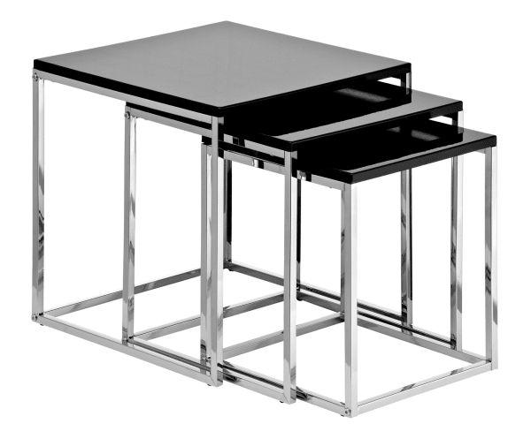 "Komplet 3 stolików ""Triple Chrome Black"""